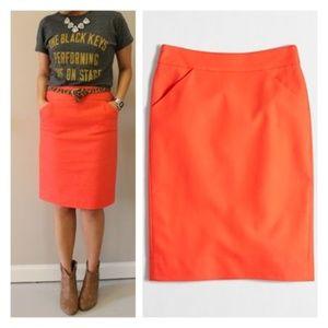 J. Crew Factory Pencil Skirt Size 2 XS Orange C